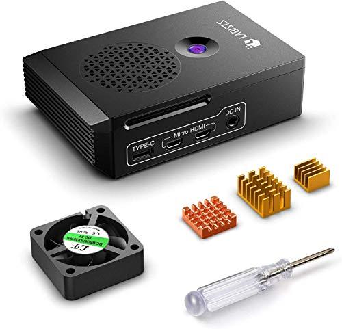 LABISTS Caja para Raspberry Pi 4 Modelo B, Raspberry Pi 4B Caja con Ventilador, Disipadores de Calor, Caja Negra Diseñada Específicamente para Raspberry Pi 4 B (Solo para Pi 4)