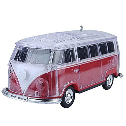 SPARKX Altavoz Bluetooth Portátil Inalámbrico, Mini Altavoz del Modelo De Bus, Luces De Colores con Manga De Cristal, Multifunción, Multi-Color Opcional,Rojo,21~8~9.5 cm