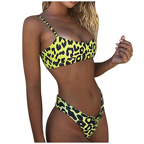 Bañadores Mujer con Estampado de Leopardo Conjunto de Bikinis con Relleno Retirable Traje de Baño con Honda Ajustables Ropa de Baño Atractivo y Elegante Swimsuit Ideal para Piscina,Playa,Mar