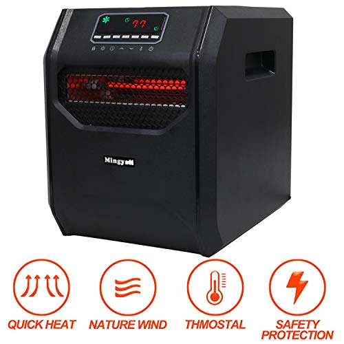 Quartz Space Heater,1500W Infrared Electric Heater with LED Control Panel Digital Remote Control 12 Hour Timer 3 Models with Overheat Tip-Over and Child Lock Safety Protection for Large Room Heater Infrared Space