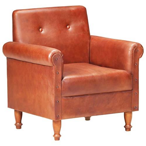 Tidyard Ohrensessel Echtleder Chesterfield Ledersessel Luxuriöse Design Lounge Fernsehsessel Relaxsessel Braun