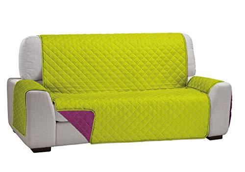 Cardenal Textil Funda Cubre Sofá Dual Cover, Pistacho/Fucsia, 2 Plazas