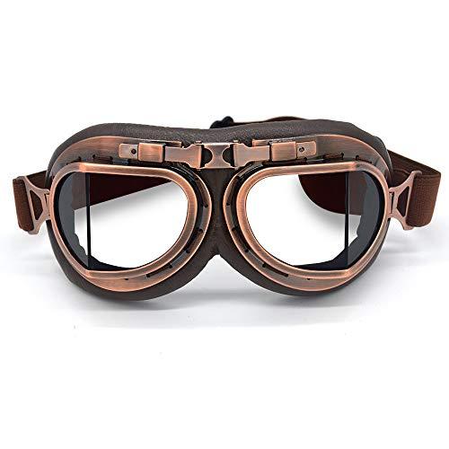 evomosa Motocross-Schutzbrille, Steampunk Vintage Aviator Pilot Stil Motorrad Cruiser Roller Goggle Biker Racer Cruiser Touring Half Helm Brille (Copper, Clear)