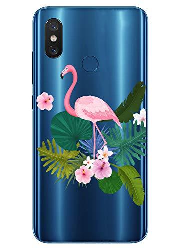 Oihxse Case Transparente Suave TPU Compatible con Sony Xperia 5 Funda [Lindo Caricatura Flor Serie Dibujos] Cristal Protector Carcasa Anti Rasguños Bumper Cover-Flamenco