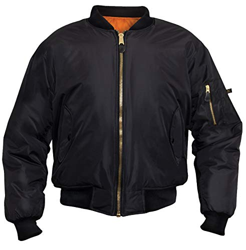Rothco Enhanced Nylon MA-1 Flight Jacket, L, Black