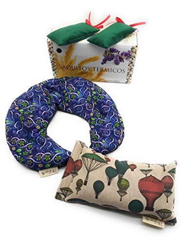 Saco Termico Pack Almohadillas de Semillas para Microondas.Alivia Colicos y Dolores de Articulaciones,Cervicales,Codos,Rodilla,Hombros.Para Tu Salud y la de Tu Familia.