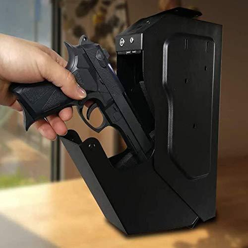 LXNQG Portátil Caja de Seguridad para Armas, Caja de Seguridad con Cerradura para Huellas Dactilares, Acceso rápido para Caja de Seguridad para Huellas