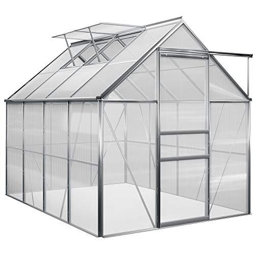 Deuba Aluminium Gewächshaus 4,75m² 250x190cm inkl. 2 Dachfenster Treibhaus Garten Frühbeet Pflanzenhaus Aufzucht 7,63m³