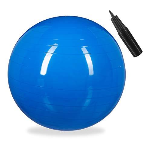 Relaxdays Balón para Ejercicios de Fitness, Pelota de Pilates, Equilibrio, con Bomba de Aire, Ø, 1 Ud, Azul, Adultos Unisex, diametro 55 cm
