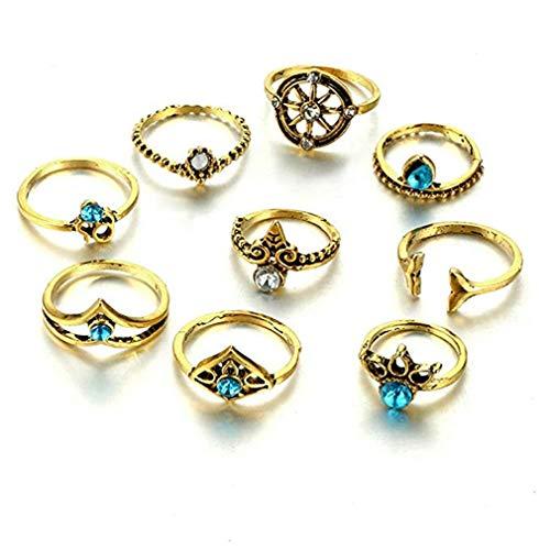 ITVIP Juego de anillos Knuckle retro tallada flores turquesas de tejido simple, estilo bohemio punk, anillo femenino