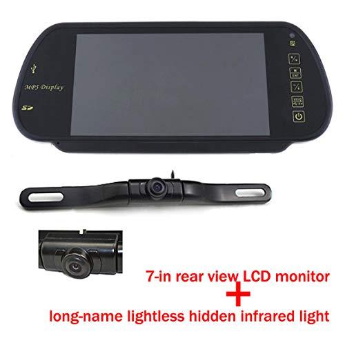 7 pouces couleur TFT LCD MP5 Moniteur de rétroviseur de voiture arrière Moniteur de stationnement de véhicule automatique SD / USB Radio FM avec étanche avec la caméra de stationnement de voiture