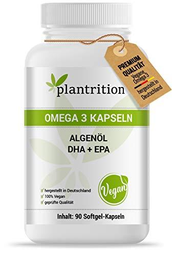 plantrition Vegane Omega 3 Kapseln aus Mikroalgenöl. 1875 mg Premium Omegavie® Algenöl mit DHA + EPA pro Tagesdosis. 90 Kapseln. Hochdosiert, hohe Bioverfügbarkeit, vegan
