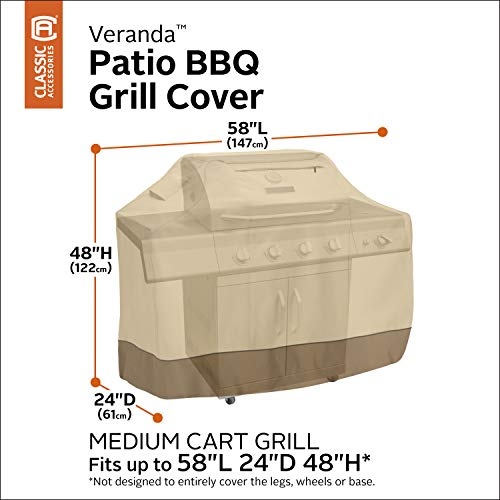 Classic Accessories 73912 Veranda Water-Resistant 58 Inch BBQ Grill Cover,Pebble,Medium