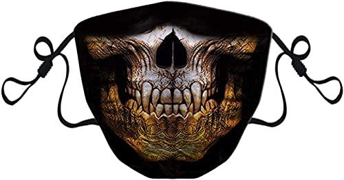KINGAM Máscara facial para bufanda, transpirable, lavable, cómoda, con filtro, hebilla ajustable, unisex, diseño de calavera, color dorado