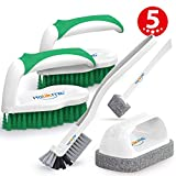Holikme 5 pack Deep Cleaning Brush Set,Scrub Brush&Grout and Corner brush&Scrub pads with Scraper Tip&Scouring pads,for bathroom,Floor, Tub, Shower, Tile, Bathroom and Kitchen Surface(Green)
