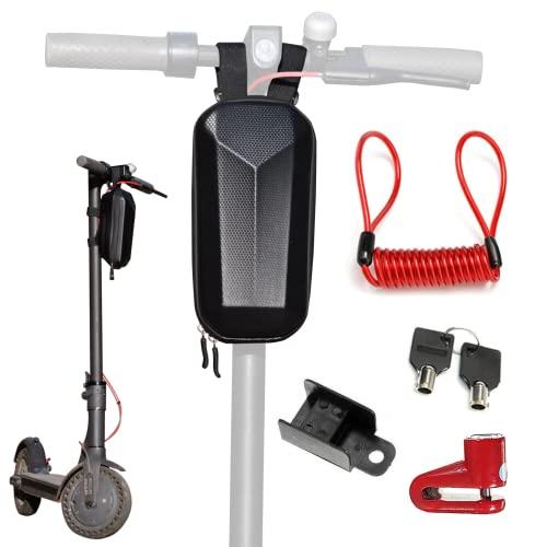 SendingClick - Bolsa para Scooter eléctrico con candado-Bolsa Manillar para patinetes eléctricos-Material Impermeable EVA Concha Dura-Gran Capacidad de Almacenamiento-Candado para Patinete antirrobo