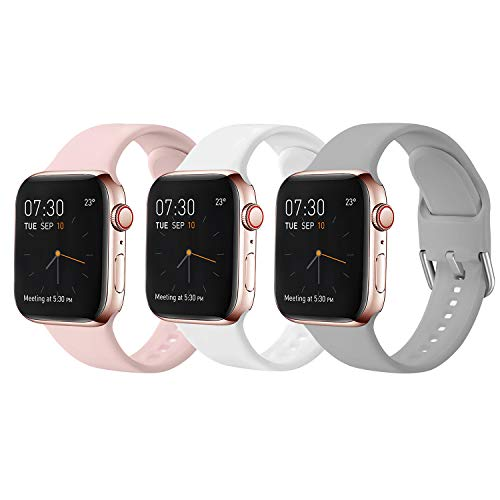Sichy Correas Compatible con Apple Watch 38mm 42mm 40mm 44mm, Correa de Silicona Suave de Repuesto Compatible con iWatch Series 6, 5 4 3 2 1, SE, 42mm/44mm-M/L,4 Pack