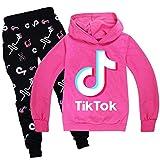 Conjunto de sudadera con capucha y pantalones, con diseño de TikTok, conjunto de ropa unisex, de estilo deportivo, de moda, para niños y niñas, color rosa, 9 - 10 años