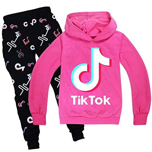 Set felpa con cappuccio e pantaloni tuta Tik Tok, unisex, alla moda, da ragazza e bambini, rosa, 13-14 anni