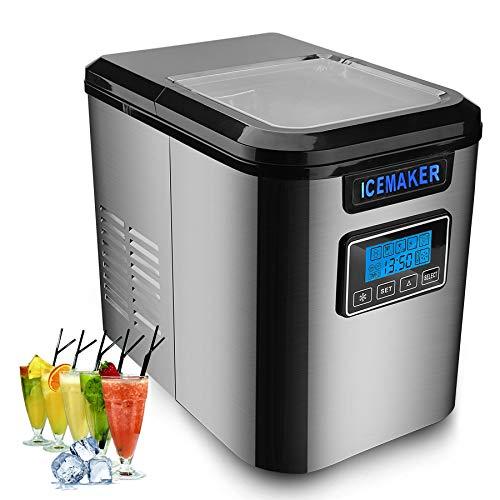 Hengda 150W Eiswürfelbereiter | Eiswürfelmaschine Edelstahl | Ice Maker mit Eisschaufel | 3 Eiswürfel-Größen | Selbstreinigungsfunktion | 12 kg 24 h | Zubereitung in 6 min | 2,2 Liter Wassertank