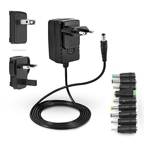 LEICKE ULL Alimentation 12V 2A   2000mA   Chargeur 24W avec 9 têtes d'adaptation différentes pour Petits appareils électroniques: LCD, Routeur WLAN, Bandes LED, Interrupteur