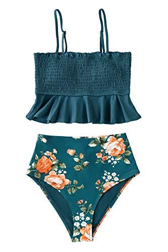 CUPSHE Women's High Waist Bikini Swimsuit Floral Print Ruffle Two Piece Bathing Suit, M Peacock Blue