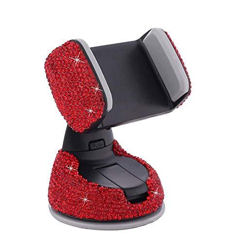 WBDZ Tenedor del teléfono del Coche de la Gravedad, con el Tenedor Rojo del teléfono móvil de la Salida de Aire del Rhinestone cristalino de Bing