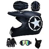 ZLCC Casco da Motocross, Casco da Motociclista Unisex,Nuovi Tema dello squalo caschi da motocross Casco con Occhiali/Maschera/Guanti regalo di ideale per bambini (F,M)