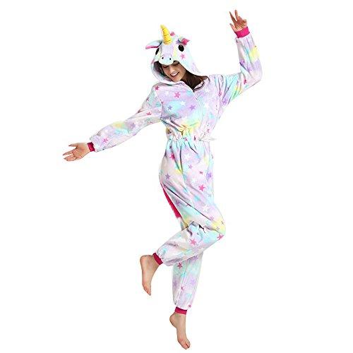 JYSPORT Einhorn Pyjamas, Unisex, Tier-Fleece Kapuzen Cosplay Kostüm Pyjama Nachtwäsche Pyjama für Erwachsene, Stern, S