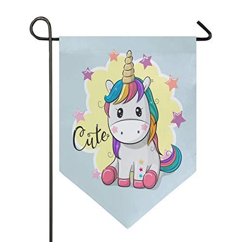 Bandera de Oarencol con diseño de unicornio y estrella de jardín mágico con arco iris de doble cara, decoración para el hogar, patio, al aire libre, 12.5 x 18 pulgadas