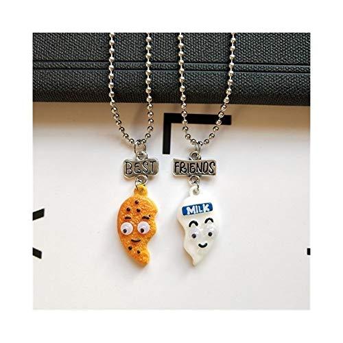 chenyou Los Mejores Amigos Regalos y de 2pcs / Set Moda Galletas y café Resina Colgante, Collar de Leche Galletas Mujeres de los Hombres Llavero Mujer niña para (Metal Color : Style 057)