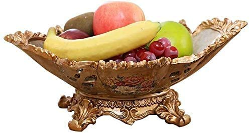 COLiJOL Plat de Fruits Assiette de Fruits Bol de Fruits Style Européen Classique Creux Résine Plat de Fruits Fruiting Fruit Basket Pratique Haute Capacité Plat de Pâtisserie Table Basse Décoration de