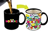 Cortunex Heat Changing Mug | 11 Oz Color Changing Coffee Mug With Colorful Good Morning Saying When Cold Then Cute Happy Cartoon Faces When Hot - Good Mug For Mom Dad Kids Friend Pet Lovers