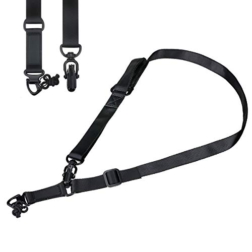 CAMTOA Tactical Two Points Outdoor Belt Sling Adjustable Multi-Function Rope Safety Sling with Adjustable Strap Mountaineering Rop, Tactical Mountaineering Sling Strap with Metal Hook for Outdoors