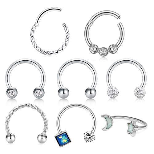 D.Bella Surgical Steel Nose Rings Hoop 16G 8mm Clicker Septum Rings Piercing Horseshoe Hoop Earring Tragus Cartilage Helix Piercing Jewelry