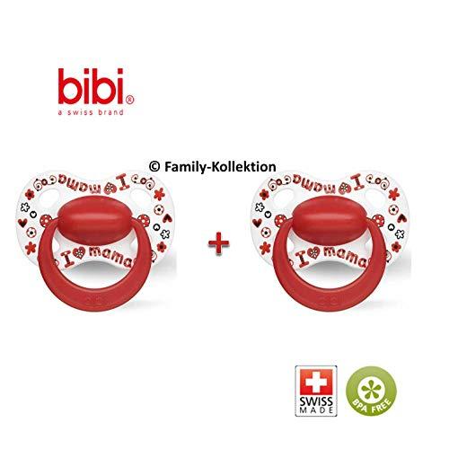 Bibi Happiness Schnuller Nuggi (I Love Mama natural 2er Set, 0-6 Monate)