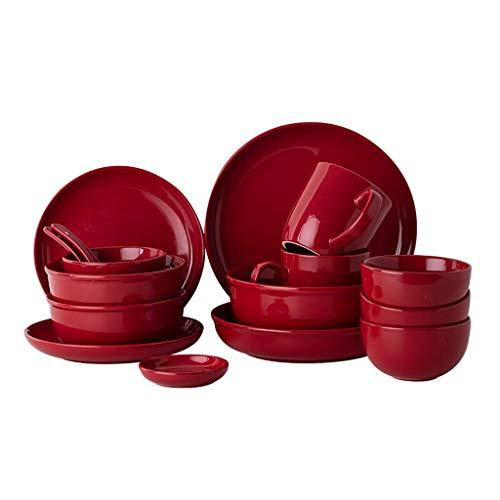 GAXQFEI Cerámica Vajillas, 24 Piezas Rojo Brillante Esmalte de Porcelana Combinación Set - Bol/Plato/Cuchara | Estilo Nórdico Vajilla para Restaurante Fiesta de la Familia
