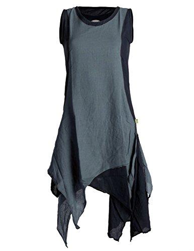 Vishes - Alternative Bekleidung - Ärmelloses Zipfeliges Lagenlook Kleid/Tunika aus handgewebter Baumwolle schwarz-grau 44