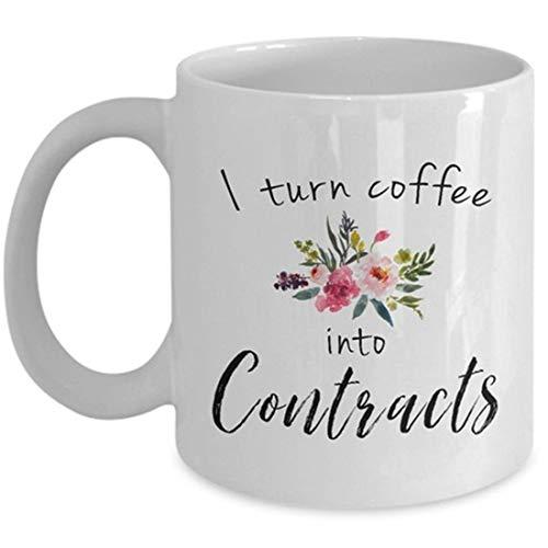 """Inmobiliaria, regalo de agente de bienes raíces, I Turn Coffee Into, taza de café, Into Contracts, divertida taza, regalo de agente, taza de oficina, taza con texto en inglés """"I Turn Coffe"""