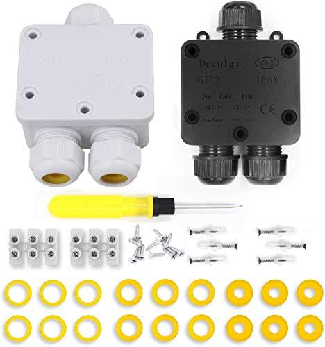 Binjor 2Pcs caja de derivación resistente al agua IP68 3 vías blanco Negro caja de empalmes exterior conector a prueba de agua de superficie conexiones electricas estancasCables Subterráneo Cajas