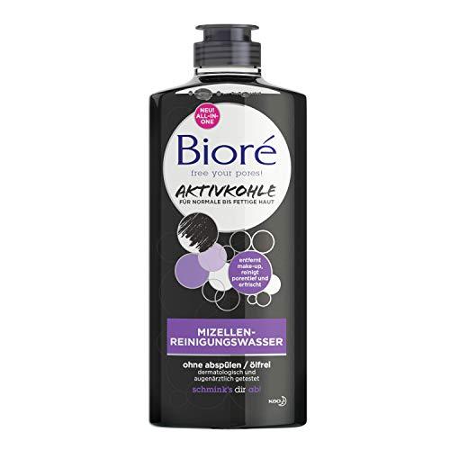 Bioré Eau purifiante micellaire au charbon actif pour peaux normales et grasses - Nettoie en profondeur - 300 ml
