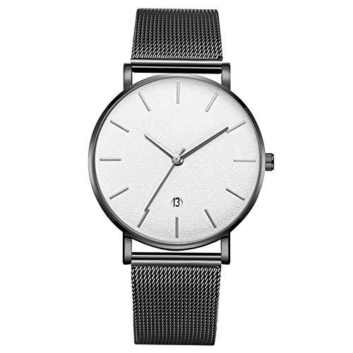 GJHBFUK Reloj Moda Dial Redondo Analógico Reloj De Pulsera De Cuarzo (cinturón Negro Caja Negra Espejo Blanco Aguja De Plata)