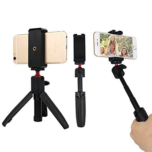 Mini palo selfie trípode 3 en 1, soporte para teléfono de mesa, trípode para cámara, palo retráctil para teléfono móvil, rotación de 360° para transmisión en directo, televisión, selfie, VLOG