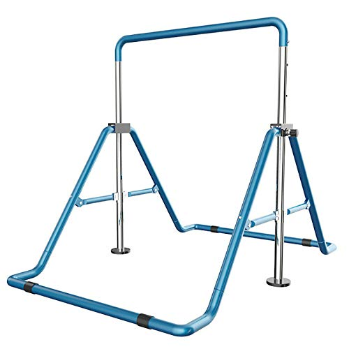 DYRABREST Gymnastic Horizontal Bars for Kids with Adjustable Height, Folding Gymnastic Training Kip Bar Children Monkey Bars for Home Play (Blue)
