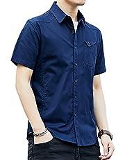 シャツ メンズ 長袖 半袖 無地 オックスフォードシャツ カジュアル コットン ボタンアイアンバックル 春 秋 冬 大人