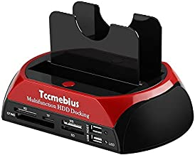 Tccmebius Hard Drive Docking Station, TCC-S862-US USB 2.0 to 2.5 3.5 Inch SATA IDE Dual Slots External Enclosure with All in 1 Card Reader and USB 2.0 Hub for 2.5