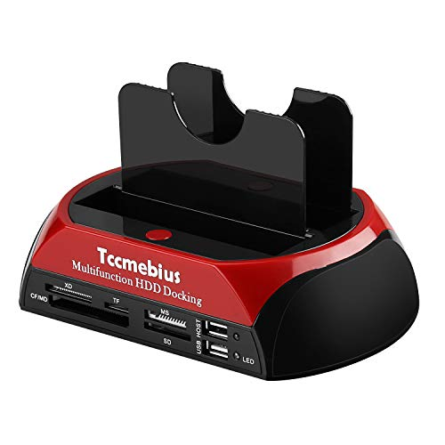 Tccmebius Hard Drive Docking Station, TCC-S862-US USB 2.0 to 2.5 3.5 Inch SATA IDE Dual Slots External Enclosure with All in 1 Card Reader and USB 2.0 Hub for 2.5' 3.5' IDE SATA I/II/III HDD SSD