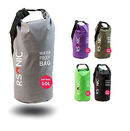 RSonic 5/10/20 Liter Dry Bag Wanderrucksack, wasserdichter Packsack gepolsterte Schulter-Gurte - Stausack Seesack - Wasserfester Rucksack - Kajak, Rafting, Segeln Tasche (Grau, 20Liter)