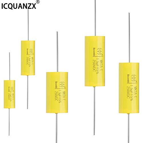 ICQUANZX Condensatore a film 250V DC 1.5uF MKTA-E Condensatori assiali rotondi in polipropilene per divisori audio (5PCS) (1.5uF)