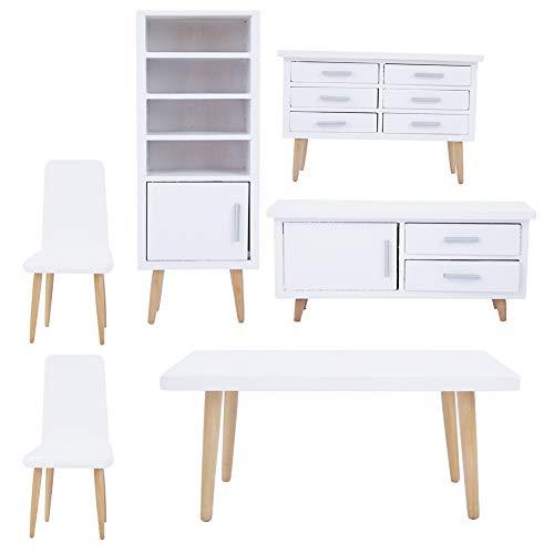 Yinuoday 6 Piezas de Muebles de Casa de Muñecas Miniaturas a Escala 1:12 Accesorios de Casa de Muñecas para Bricolaje Casa de Muñecas Mini Juegos de Muebles de Juguete para Salón